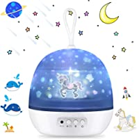 Night Light Projector, SSLHONG 4 in 1 LED Starry Moon Ocean Wave Projector Lamp 360° Rotating 8 Color Modes Baby Kids Nursery Lights (White)