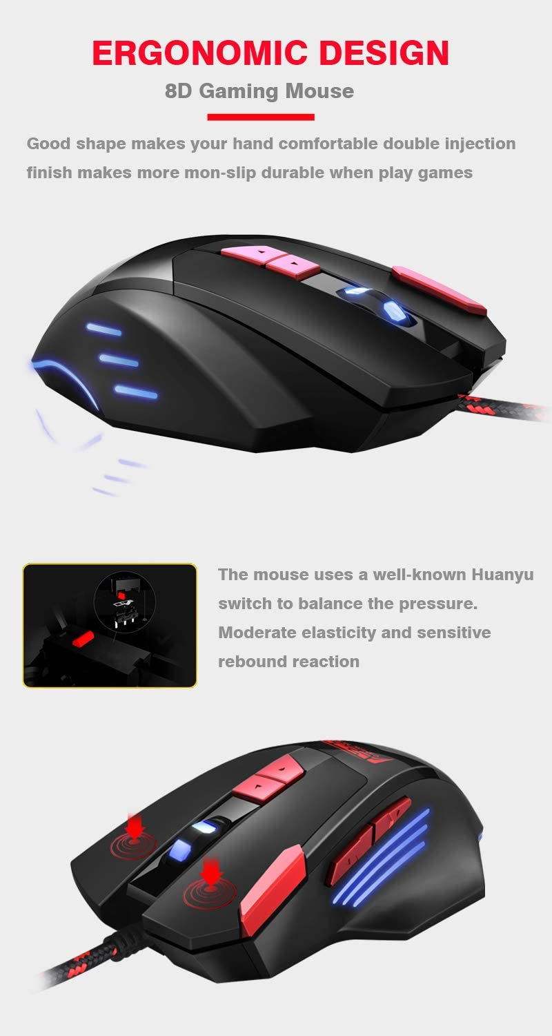 RGB One Hand Mechanical Gaming Keyboard and Backlit Mouse Combo, USB Wired Rainbow Letters Glow Single Hand Mechanical Keyboard,Gaming Keyboard Set for Laptop PC Computer Game and Work