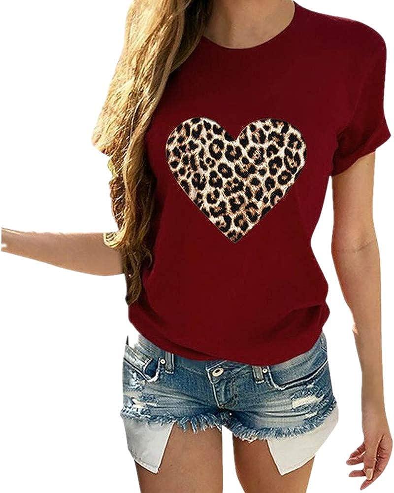 x8jdieu3 Verano Estampado Suelto Y TeñIdo Estampado De Leopardo Carta De Amor Estampado Cuello Redondo Manga Corta Camiseta Mujer Top: Amazon.es: Ropa y accesorios