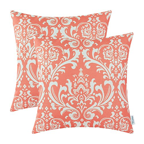 Pack of 2 CaliTime Soft Canvas Throw Pillow Covers Cases for Couch Sofa Home Decor, Vintage Solid Damask Floral, 18 X 18 Inches, Coral Pink - Damask Accent Pillow