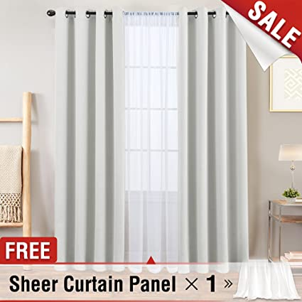 White Blackout Curtains For Bedroom 95 Inches Long Triple Weave Room Darkening Window Living