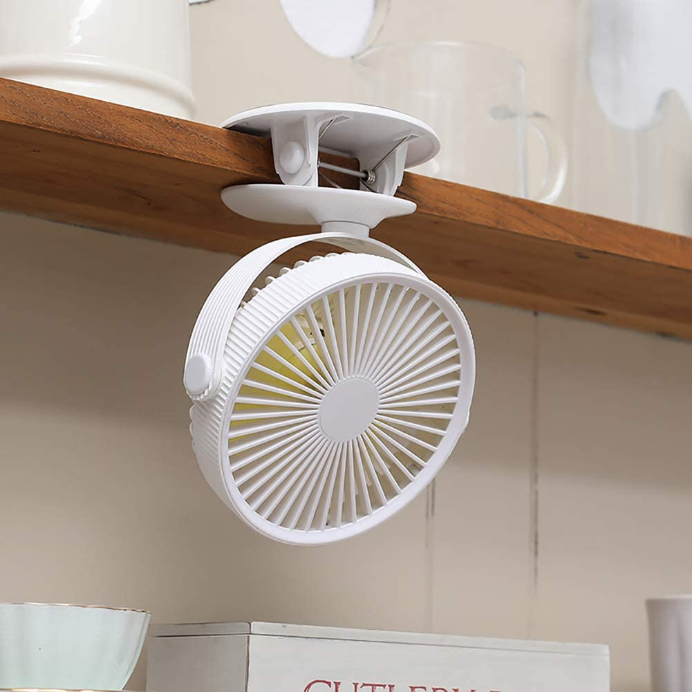 Musitelying Portable Rotating Adjustable Speed USB Charge Mini Clip-on Cooling Fan Cooler White