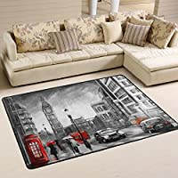 Naanle Artwork Area Rug 4x6, Oil Painting London Big Ben Polyester Area Rug Mat for Living Dining Dorm Room Bedroom Home Decorative