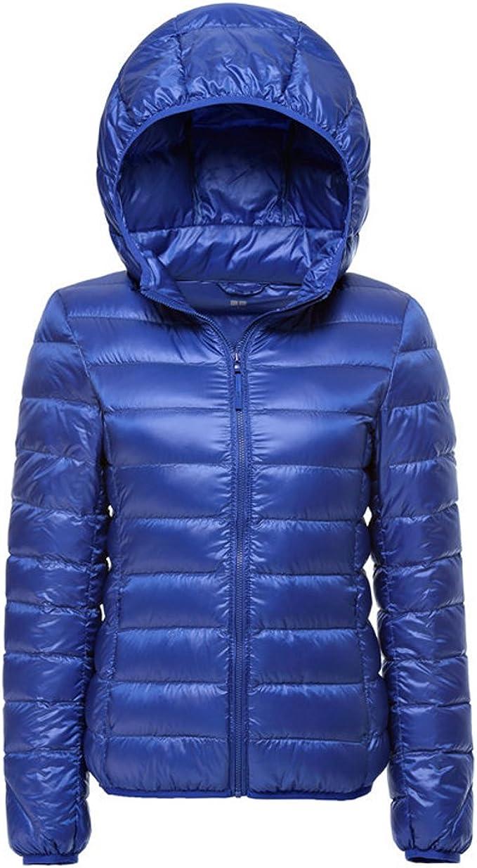 Blauer Lightweight Daunenjacke mit Kapuze: : Bekleidung