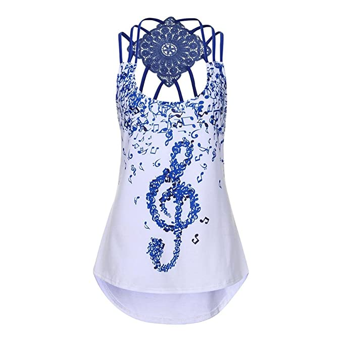 SHOBDW Vendajes de Moda para Mujer Summer Sleeveless Sexy Hollow Vest Top Notas Musicales Imprimir Strappy