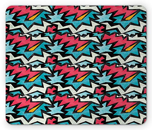 - Ambesonne Urban Graffiti Mouse Pad, Chevron-Like Bold Framed Tangled Stripes and Edgy Zigzags, Standard Size Rectangle Non-Slip Rubber Mousepad, Dark Coral Blue Eggshell