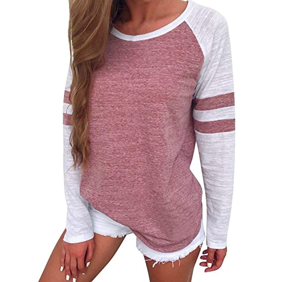 Camiseta Personalizada,Moda Mujeres SeñOras Empalme Manga Larga Blusa Tops Ropa Camiseta Sudadera Tops con