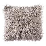 Jooyi® Natural Deluxe Home Decorative Super Soft Plush Mongolian Faux Fur Throw Pillow Cover Cushion Case (30cmx50cm, Grey)