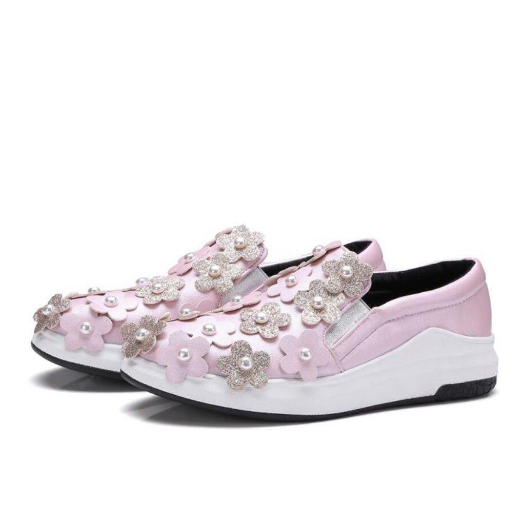 GAOLIXIA Frauen-Müßiggänger-Schuhe PU-Sport beschuht Frühlings-Sommer-Blaumen-Perlen-Flache Komfort-Freizeitschuhe im Freien Pumpen