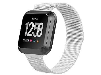 Inkasus Bracelet en Métal Milanais Argent pour Fitbit Versa