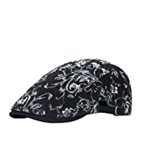 YUANOMM Ivy Cabbie Flat Beret Cap for Women,Dome Curled Flower Hat Adjustable Winter Warm Cap National Wind Beret Korean Version of The Trend Forward Cap Casual Wild Duckbill Cap