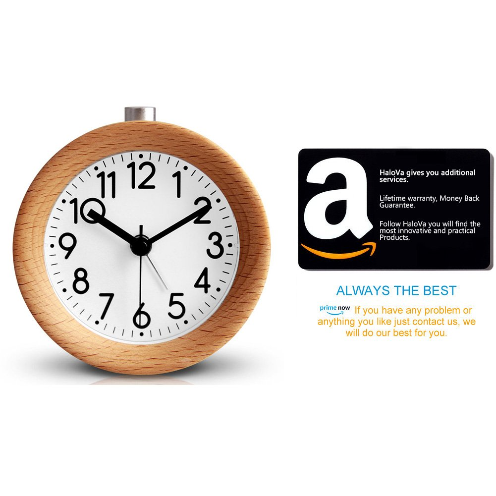 Creative Fashion Silent Non Ticking Sweep Second Hand Bedside Desk Wooden Alarm Clock with Nightlight for Bedroom HaloVa Alarm Clock Battery Operated