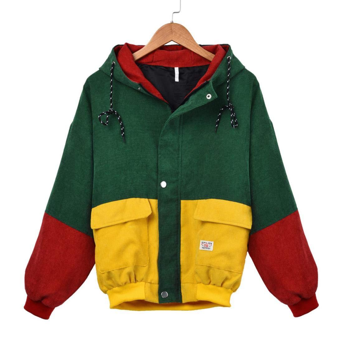 HTHJSCO Women's Hoodie Jacket, Windbreaker Coat Overcoat Corduroy Patchwork Oversize Jacket (Wine Red, L)