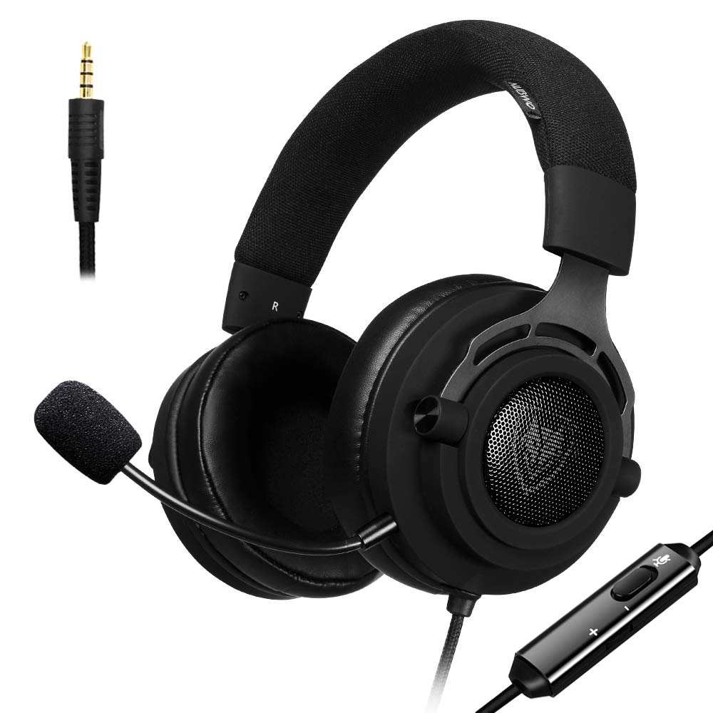NUBWO N9 HyperFabric Gaming Headset, Detachable Microphone w/ 3.5mm Volume Control, Breathable Earcups, Premium Headband, for PS4, Xbox One, Nintendo Switch, Mac, PC, Computer, Skype, Window, Black