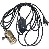 Vintage Pendant Light Socket, Sopoby Edison Lamp Socket for Bulb E26/E27 Base, 13.1ft Black Light Cord Cable with Dimmer Switch