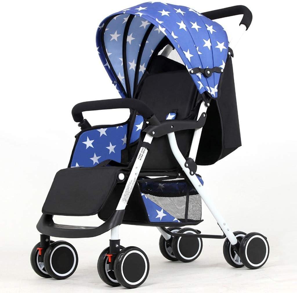 WJY Carrito , Comedor Coche Carrito médico Comensal Cochecito de bebé puede sentarse reclinado Ultra ligero Carro portátil de cuatro ruedas Pequeño cochecito de bebé Silla de paseo Carrito de bebé,Az