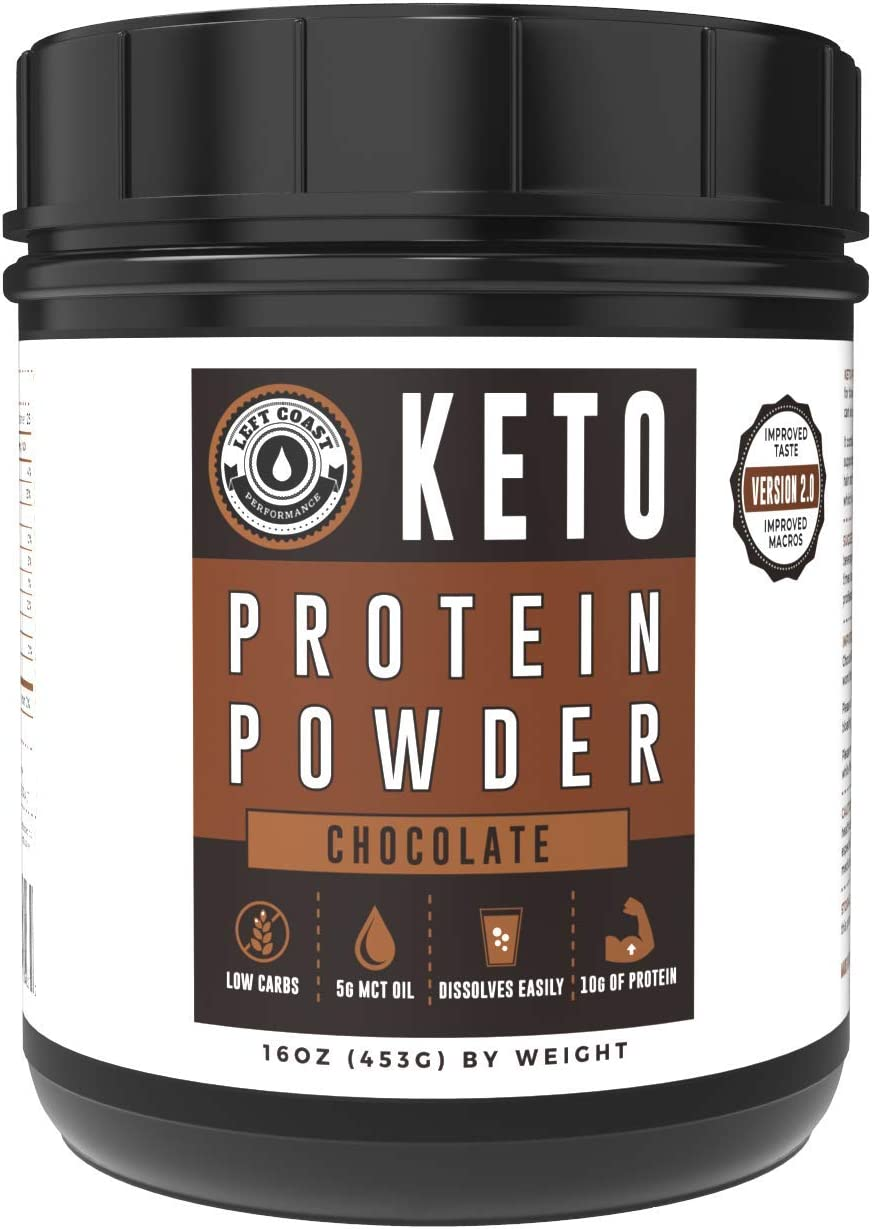 Keto Collagen Protein Powder Chocolate – 10g Grass-Fed Collagen, 5g MCT Powder 1lb, 25 Servings, No Carb Protein Powder, Low Carb Meal Replacement Shakes, Ketogenic Shake Mix Left Coast Performance