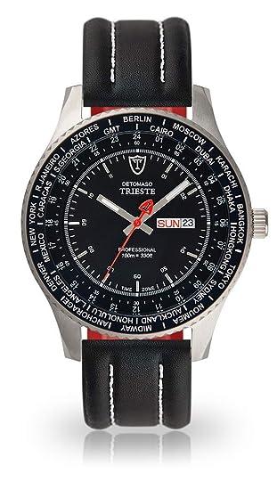 Detomaso Trieste Reloj de pulsera para hombre con caja de acero inoxidable y esfera negra plateadas