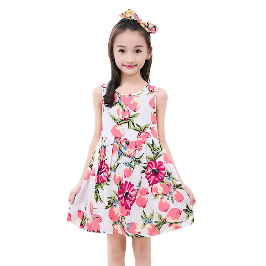 2-3 Years, Pink Dinlong Baby Girl Cotton Sleeveless Floral Printed Party Dress Outfits Clothes