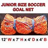ONE ORANGE JUNIOR SIZE 12' x 7' x 4' x 4' SOCCER GOAL NET NETTING
