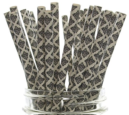 Black Floral Damask Straws (25 Pack) - Formal Classic Wedding Straws, Anniversary / Graduation Flower Paper Straws, Swirl Damask Party Straw (Black Orchid Martini)