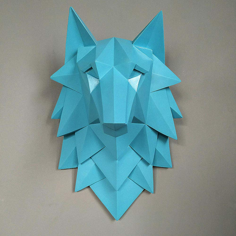Esculturas de Pared Decoraci/ón del Hogar Escultura De Cabeza De Lobo Colgar En La Pared Decoraci/ón 3D Estatua Sala De Estar Mural Bar Cafe Art Craft-Azul/_Los 35X24X20Cm