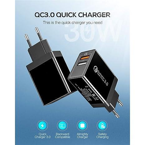 Cargador de teléfono móvil Dual Interfaz de Carga USB QC 3.0 ...
