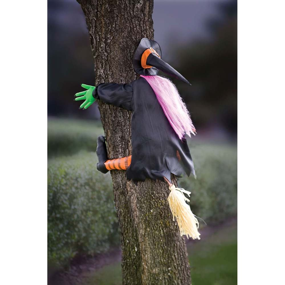 You can buy theBetty Bash Crashing Witch Into Tree Halloween Decoration here