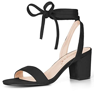 Image Unavailable. Image not available for. Color  Allegra K Women s Open  Toe Mid Block Heel Ankle Tie Black Sandals ... 3f8ff2545
