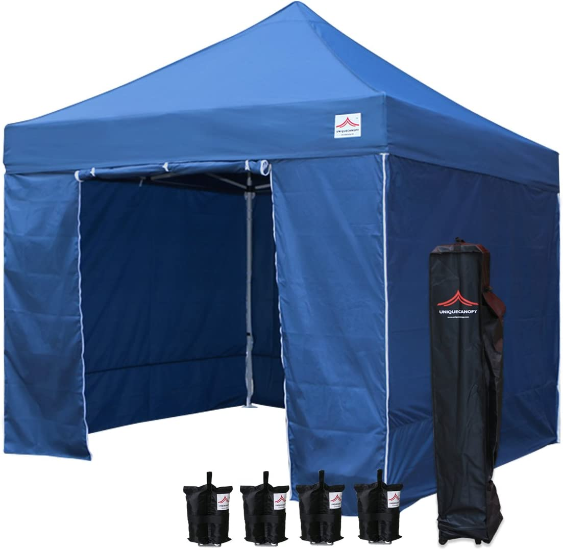 UNIQUECANOPY 10 x10 Ez Pop Up Canopy Tent Commercial Instant Shelter, with 4 Removable Zippered Side Walls and Heavy Duty Roller Bag, 4 Sand Bags Navy Blue
