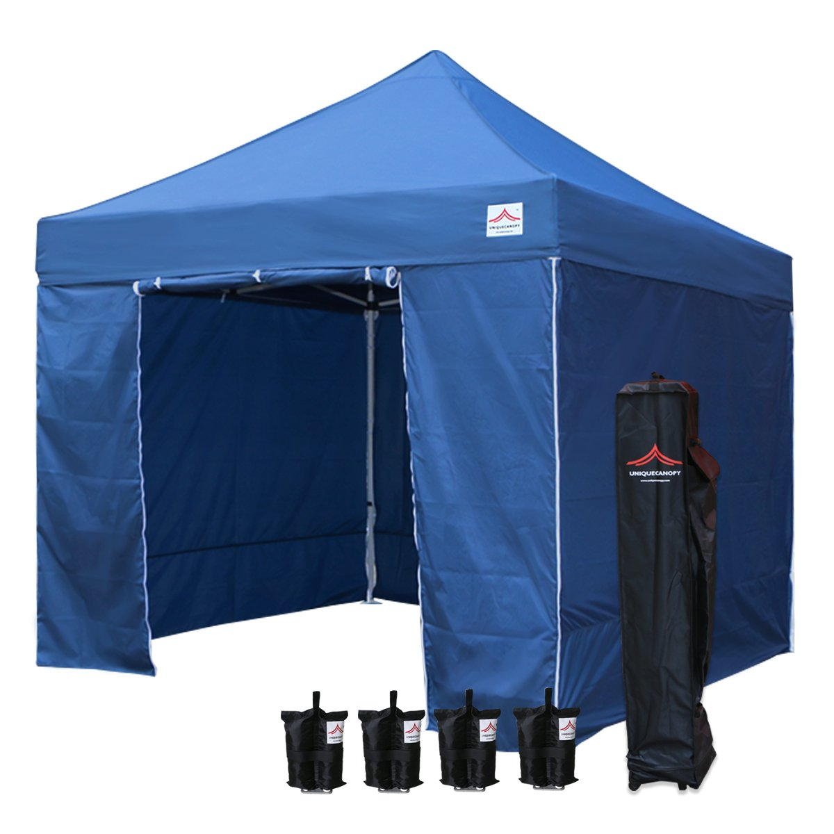 UNIQUECANOPY 10x10 Ez Pop up Canopy Tents for Parties Outdoor Portable Instant Folded Commercial Popup Shelter, with 4 Zippered Side Walls and Wheeled Carrying Bag Bonus 4 Sandbags Navy Blue