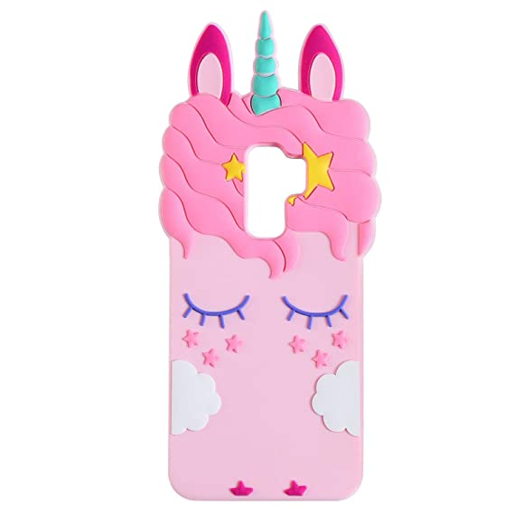 first rate 1803a da37a Joyleop Pink Unicorn Case for Samsung Galaxy S9 Cute 3D Cartoon Animal  Cover,Kids Girls Cool Fun Soft Silicone Gel Rubber Kawaii Character Fashion  ...