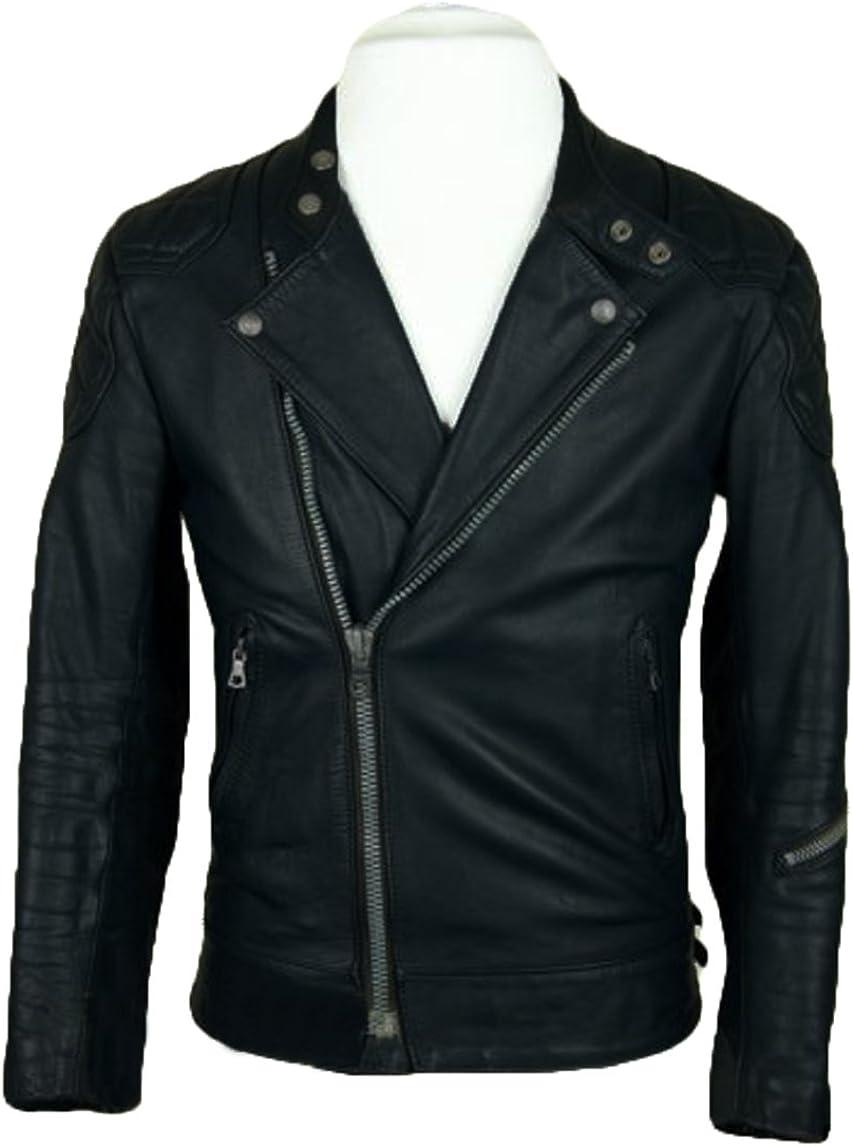 Men Leather Jacket Coat Motorcycle Biker Slim Fit Outwear Jackets T1195