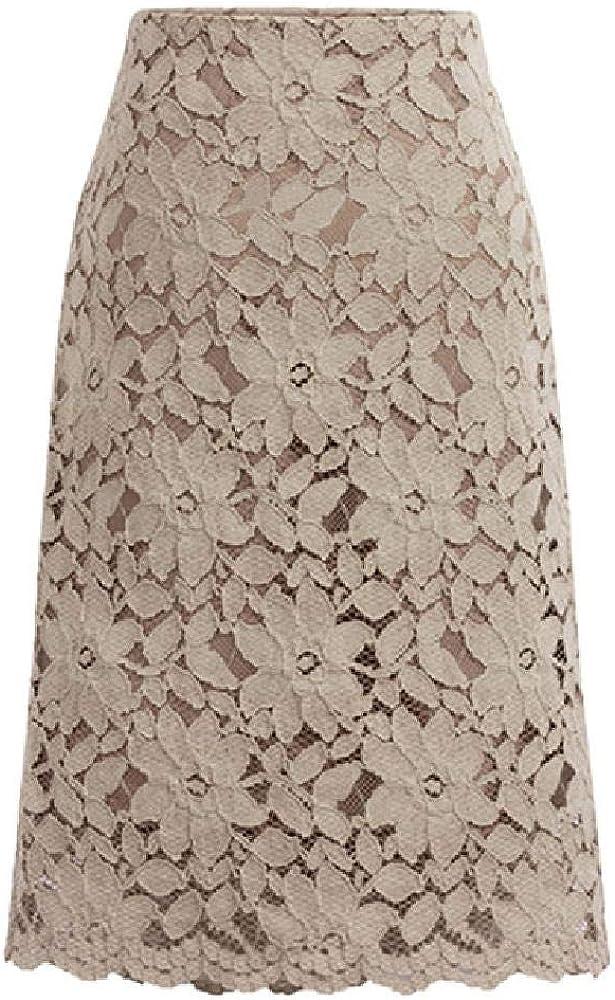 Falda de Encaje Acampanada de una línea de Mujer Falda de Fitness Longitud de la Rodilla más Falda Plisada Falda Casual Recta de poliéster sólido DEC