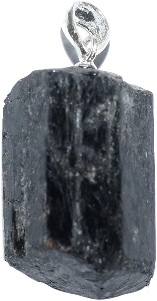 Lithotherapie - Colgante de turmalina negra, piedra bruta extra