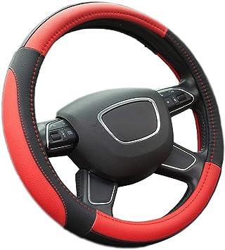 Finoki Auto Universal Anti Rutsch Atmungsaktive Lenkradhülle Lenkradbezug Lenkradschoner Aus Mikrofaser Leder 36 38cm Rot Küche Haushalt