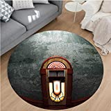 Nalahome Modern Flannel Microfiber Non-Slip Machine Washable Round Area Rug-ry Movie Theme Old Abandoned Home with Antique Old Music Box Image Petrol Green and Brown area rugs Home Decor-Round 75''