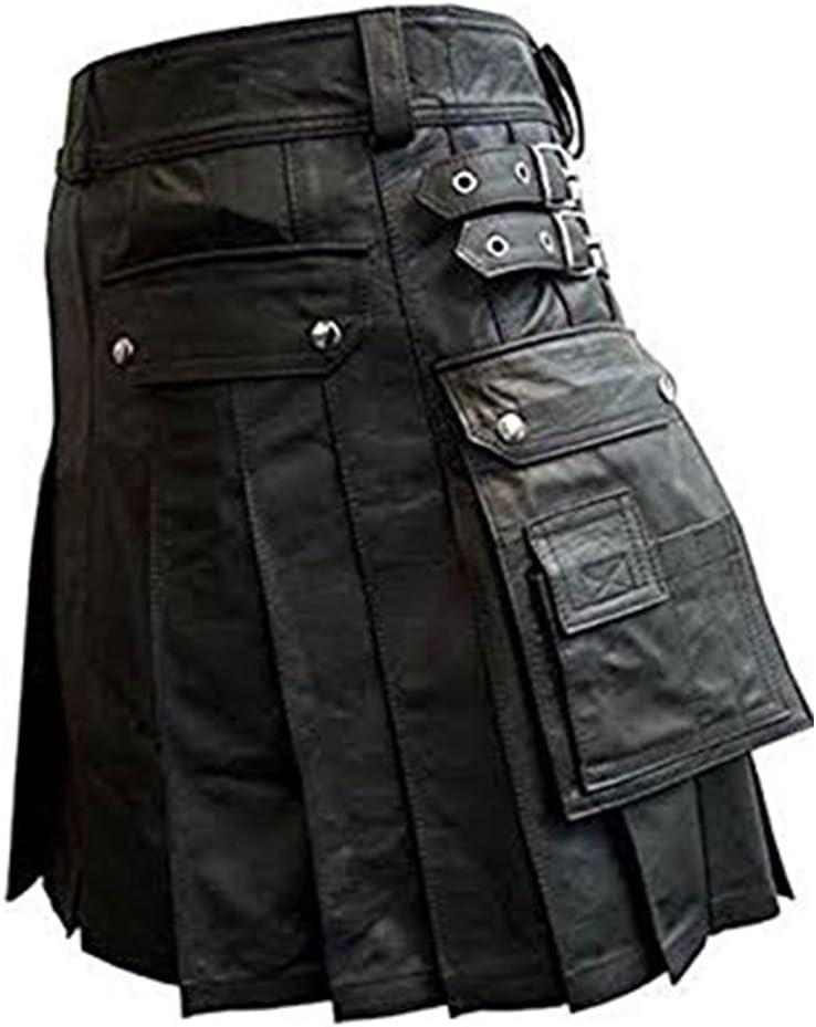 "Men Real Black Leather Gladiator Pleated Utility Kilt LARP (WAIST 36"" X LENGTH 20"") For HALLOWEEN 2020"