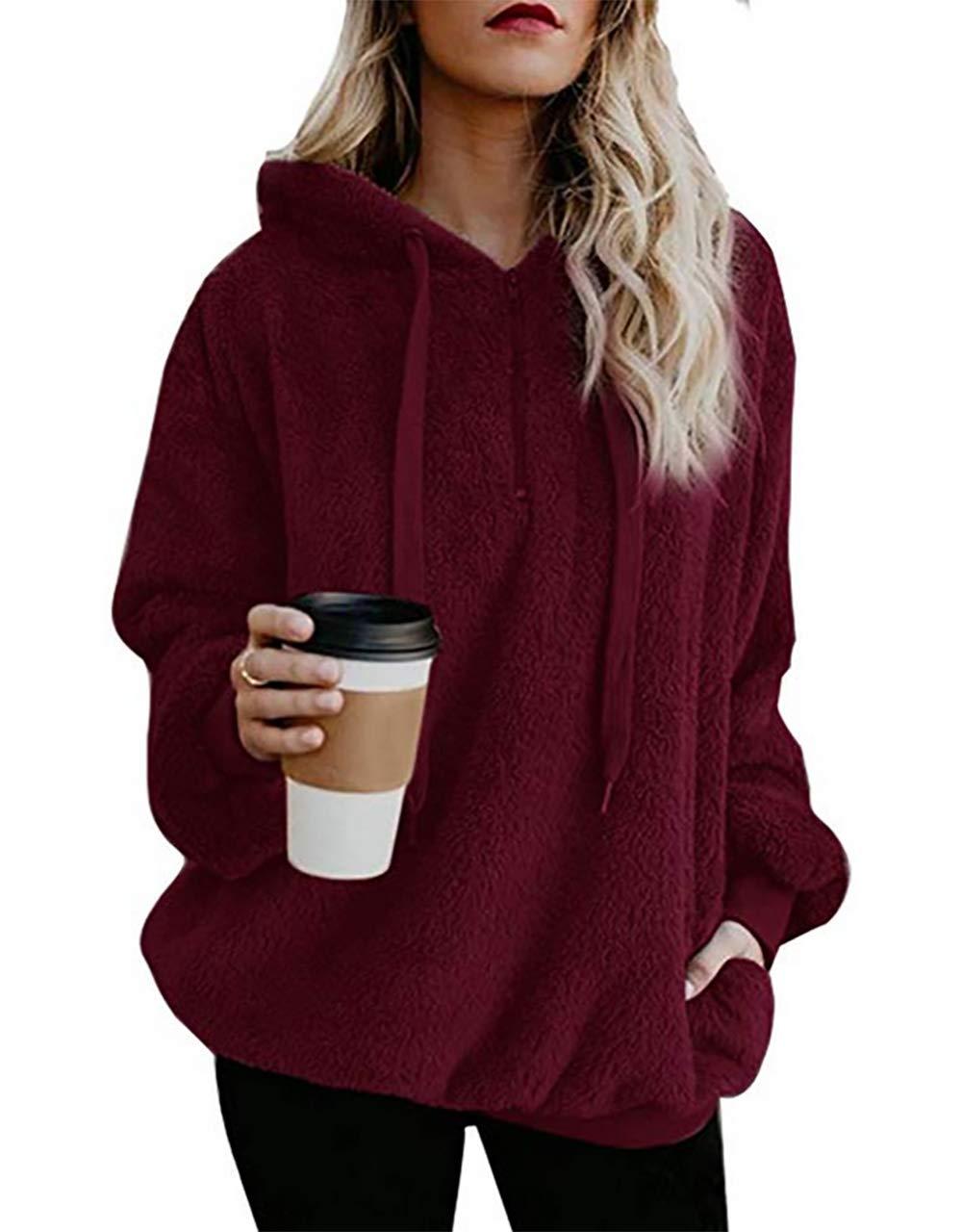 Lovelyduo Women's Fuzzy Long Sleeve Pullover Hoodie Zip Front Sweatshirt Wine Red L