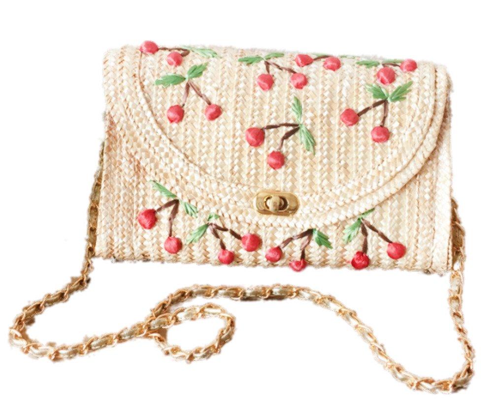 EBISSY Straw Crochet Shoulder Bag Summer Sea Beach Clutch Handbag (Cherry)