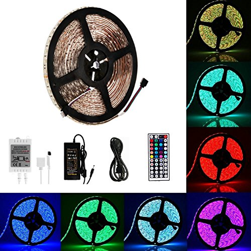 guaiboshi Flexible Waterproof LED Strip Lights, 32.8ft(10M) SMD5050 RGB 600leds Color Changing LED Light Strip Kit with 44keys IR Remote Control and 24V Power Supply for TV Home Christmas Decoration