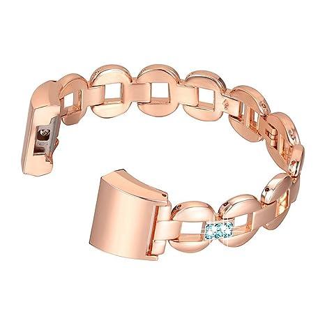 Bracelet Fitbit Charge 2,Rosa Schleife®Montre Connectée Bracelet Femme Metal Acier Inoxydable avec