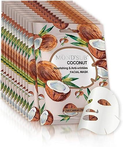 12 P/Pack] Aceite de Coco Hoja Máscara facial | Mejor Mascarilla anti-envejecimiento y contra arrugas | Esencia natural de colágeno | Suavizar instante su piel | fruta original extracto de vitamina: Amazon.es: Belleza