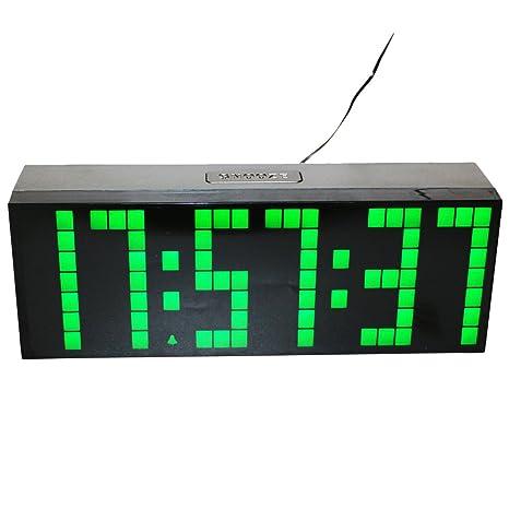 LambTown Reloj de Cuenta Atrás del Temporizador Digital con Termómetro Fecha Luz de Noche - Verde
