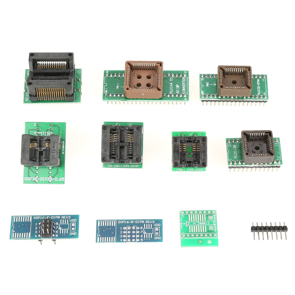 32BIit//64Bit Asixx USB Universal Programmer for TL866II Plus EEPROM FLASH 8051 AVR MCU GAL PIC with 10 Adapters for WIN 2000//WIN XP//WIN 2003//WIN 2008//WIN VISTA//WIN7//WIN8//WIN10 USB Programmer