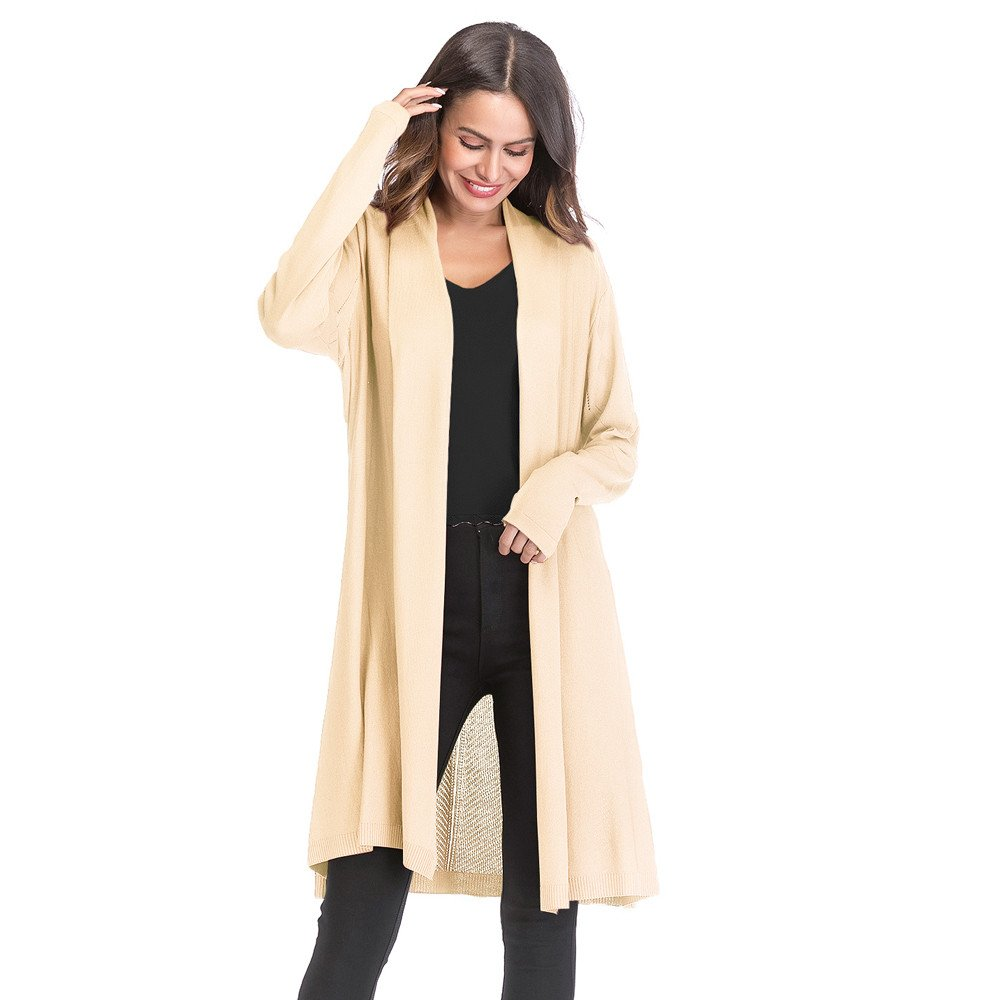 YKA 2018 Women's Shirt,Casual Fashion Loose Gradient Solid Knit Hollow Out Cardigan Retro Long Sleeve Coat