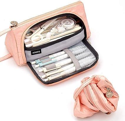 Shager - 1 estuche para lápices, color rosa, gran capacidad, bolsillo para papel de cartas, tres compartimentos, 20 x 11 cm, color Papel rosa. 20*11CM: Amazon.es: Oficina y papelería