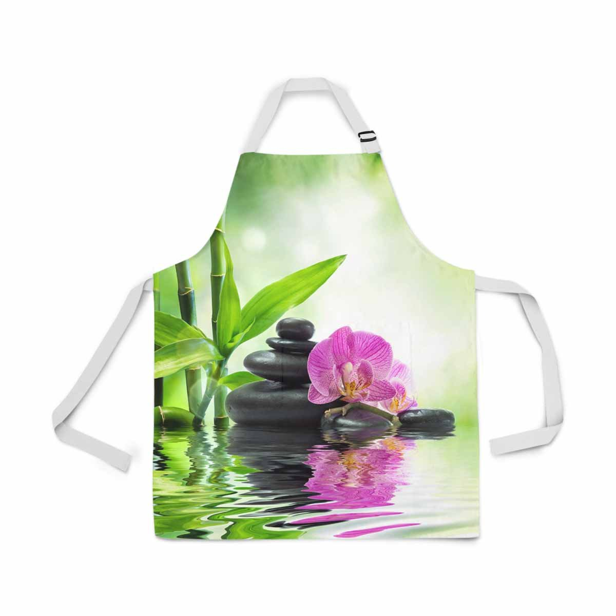 InterestPrint Spa Purple Orchids Black Stones Bamboo on Water Adjustable Bib Apron for Women Men Girls Chef with Pockets, Novelty Kitchen Apron for Cooking Baking Gardening Pet Grooming Cleaning