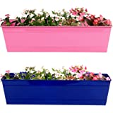 TrustBasket Set of 2- Rectangular Railing Planter -Magenta and Blue (23 Inch)