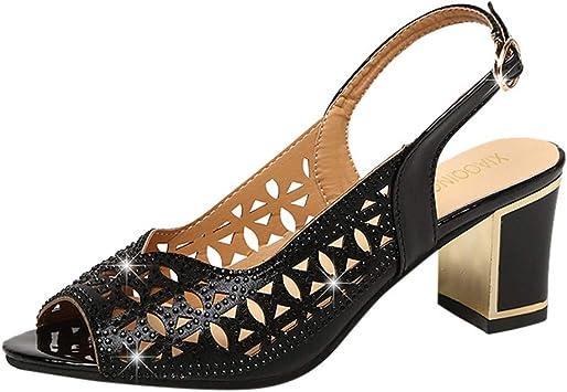Scarpe Sandali Donna con Tacco Bassi Zeppa Eleganti Estivi Cinturino alla Caviglia con Punta Aperta E Bocca di Pesce A Tacco Alto